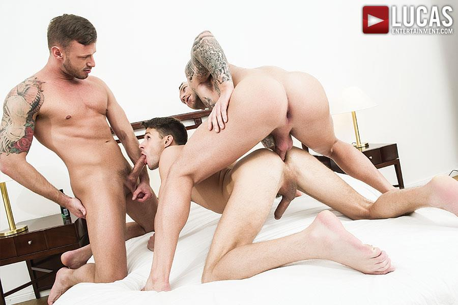 Lucas Entertainment Dylan James and Logan Rogue and Dmitry Osten Bareback Threeway Amateur Gay Porn 08 Dmitry Osten Takes A Raw Load In The Mouth And Ass