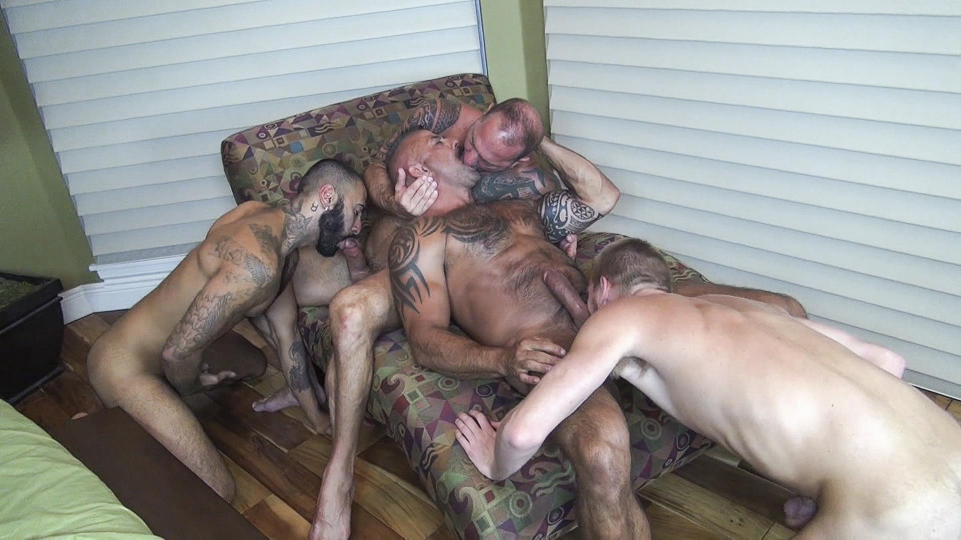 Raw Fuck Club Vic Rocco and Rikk York and Billy Warren and Job Galt Bareback Daddy Amateur Gay Porn 08 Four Hairy Muscle Daddies In A Bareback Fuck Fest Orgy